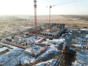 Компенсационный дом в поселении Рязановское, фото с квадрокоптера, декабрь 2020